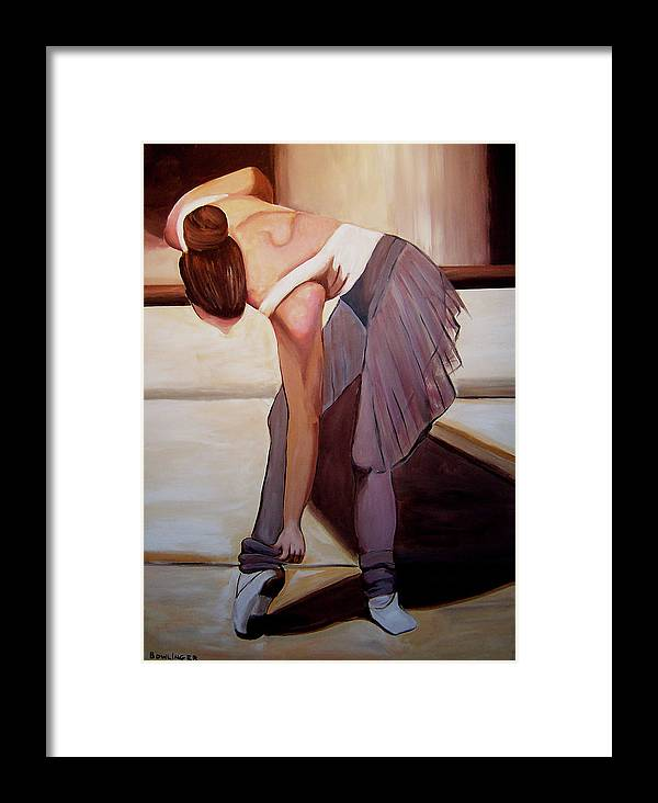 Figure Framed Print featuring the painting Ballerina Bending Over by Scott Bowlinger