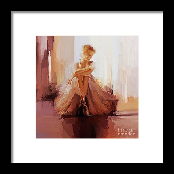 Ballerina Framed Print featuring the painting Ballerina Dancer Sitting On The Floor 01 by Gull G