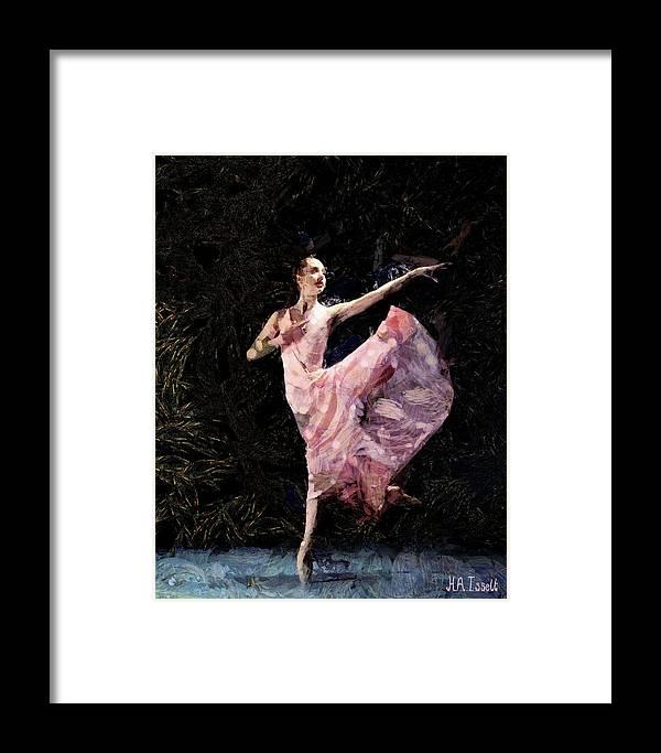 Women Framed Print featuring the digital art Ballerina Dancing Expressive by Humphrey Isselt