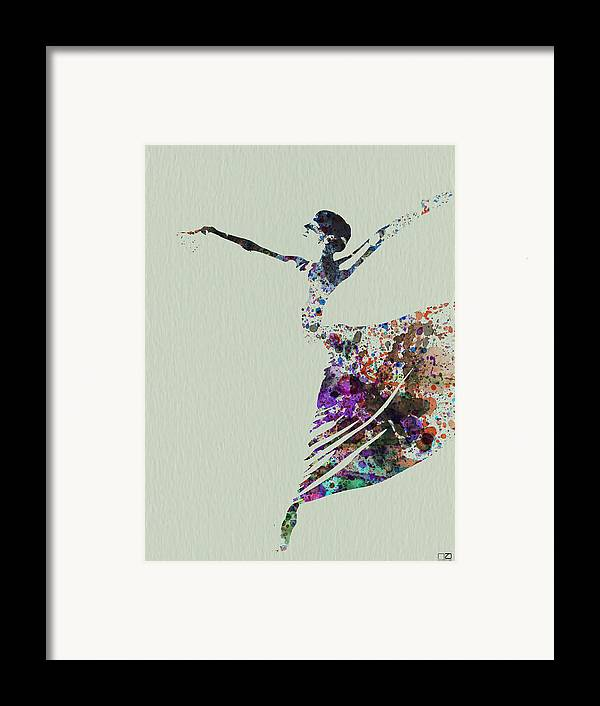 Framed Print featuring the painting Ballerina Dancing Watercolor by Naxart Studio