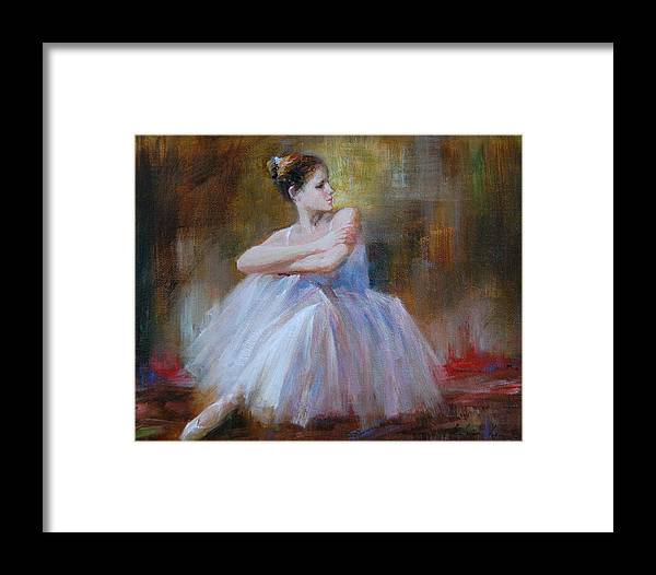 Figuratives Framed Print featuring the painting Ballerina E by Kelvin Lei
