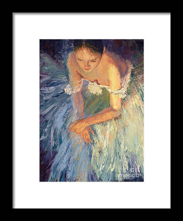 Ballerina (framed) Framed Print featuring the painting Ballerina Resting by Colleen Murphy