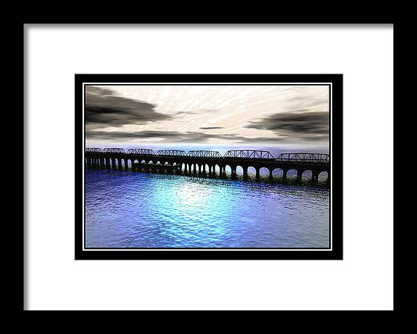Ballester Bridge Imagination Water Seascape Landscape Abstract Surreal William Ballester Sea Print Abstract Framed Print featuring the digital art Ballester Bridge by William Ballester