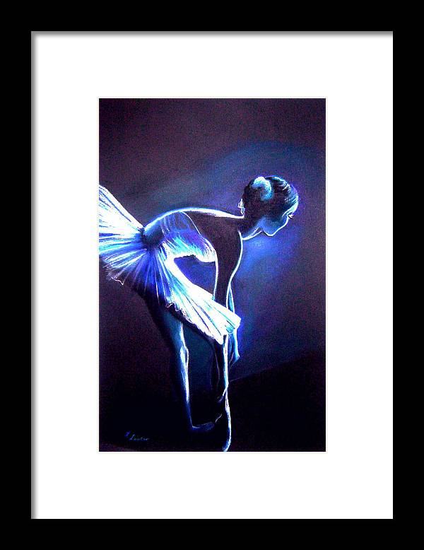 Ballet Framed Print featuring the drawing Ballet In Blue by L Lauter