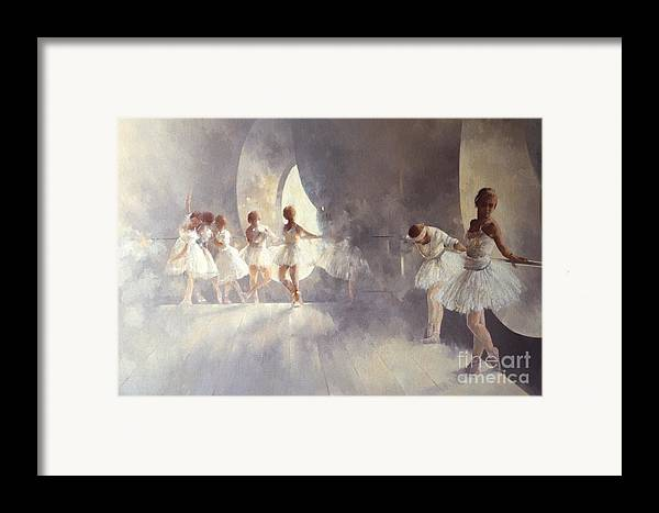 Ballerina; Ballet; Girls; Girl; Female; Dance; Dancing; Dancers; Interior; Tutu; Leotard; Ballet Studio Framed Print featuring the painting Ballet Studio by Peter Miller