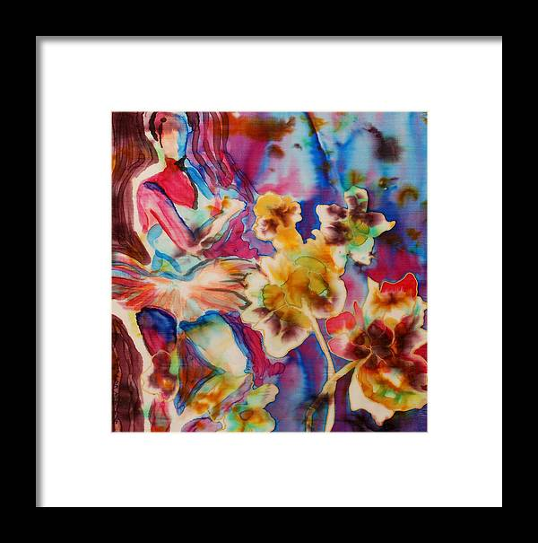 Silk Framed Print featuring the painting Ballet With Orchids by Beena Samuel
