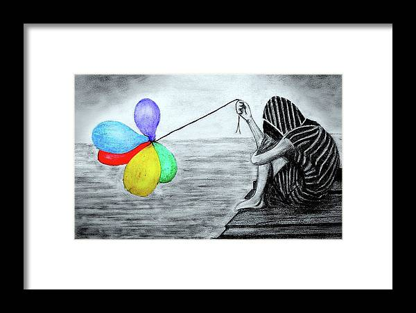 Balloon Framed Print featuring the drawing Balloon by Rishabh Ranjan