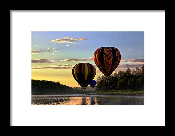Hot Air Balloon Framed Print featuring the photograph Balloon River Flight by Gary Smith