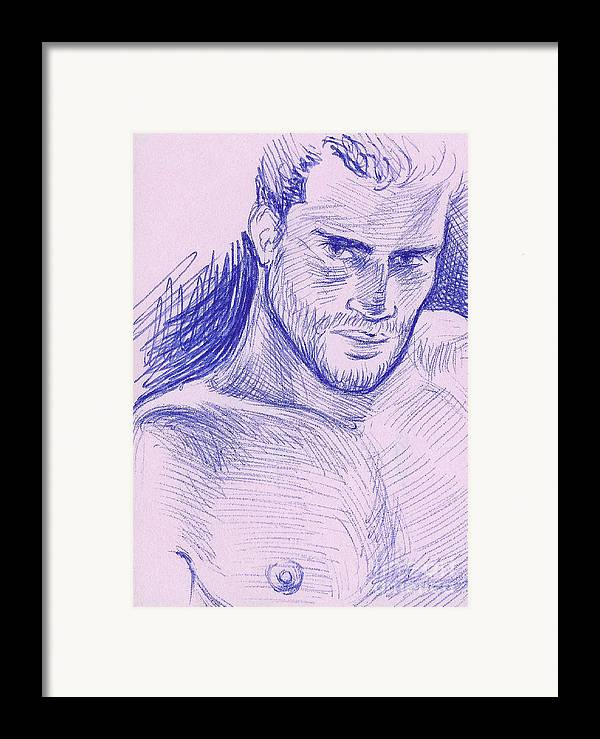 Portrait Framed Print featuring the drawing Ballpointpenportrait by Bad Robin