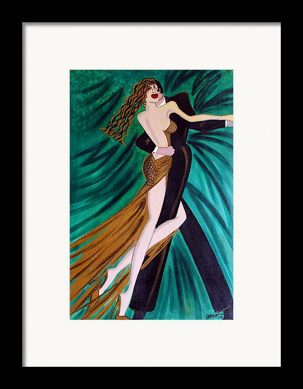 Ballroom Dancers Framed Print featuring the painting Ballroom Dancers Champagne Tango by Helen Gerro