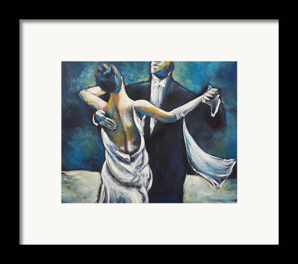 Dance Framed Print featuring the painting Ballroom Dancers by Ellen Lewis