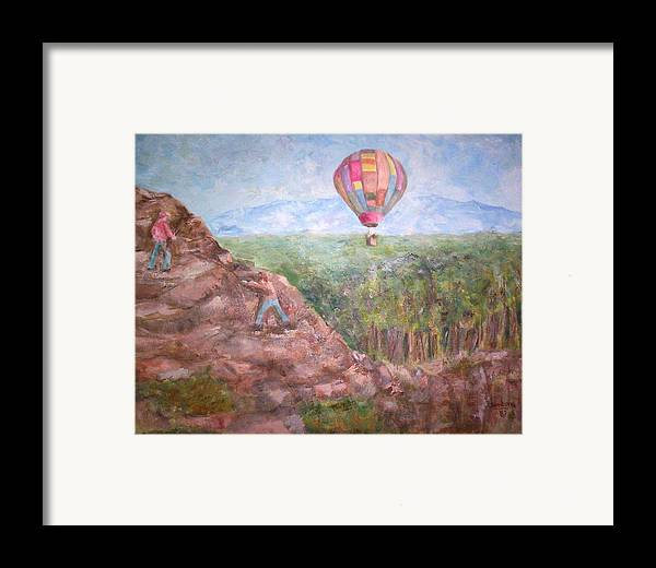 Landscape Baloon And Mountain Trees People Framed Print featuring the painting Baloon by Joseph Sandora Jr