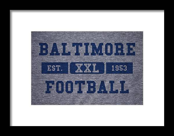 Colts Framed Print featuring the photograph Baltimore Colts Retro Shirt by Joe Hamilton