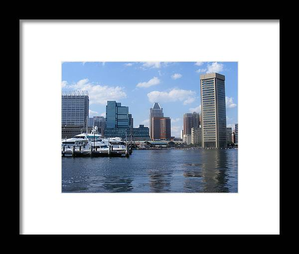 Baltimore Framed Print featuring the photograph Baltimore Inner Harbor by James and Vickie Rankin