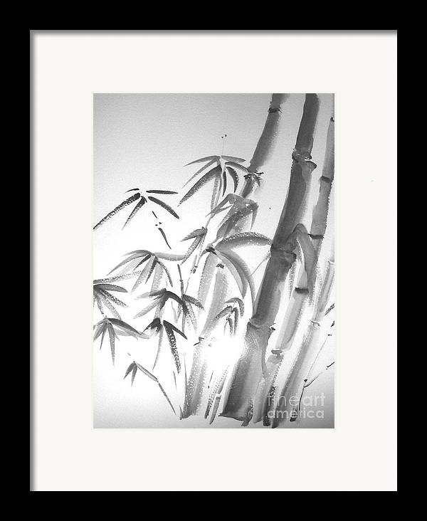 Sumi -e Framed Print featuring the painting Bamboo 2 by Sibby S