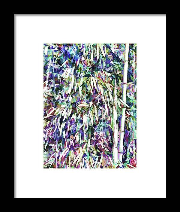 Bamboo Forest Background Framed Print featuring the painting Bamboo Forest Background by Jeelan Clark
