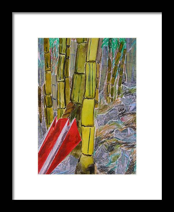 Framed Print featuring the painting Bamboo Forest by Evguenia Men