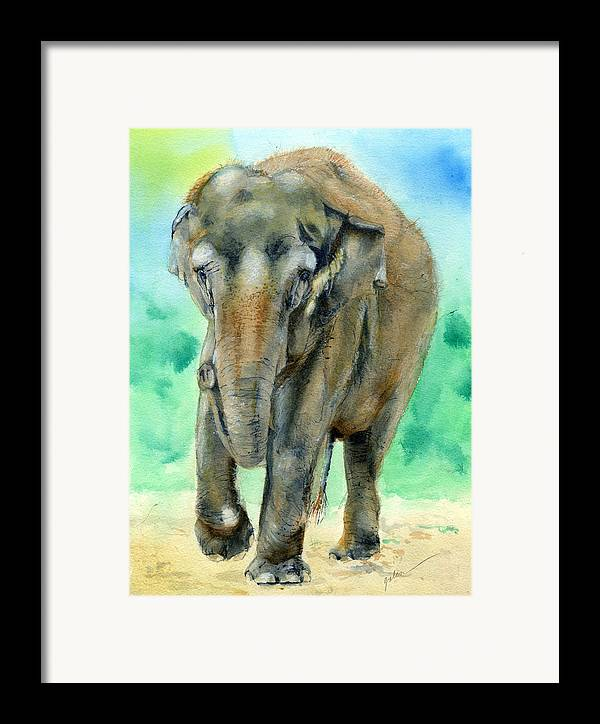Elephant Framed Print featuring the painting Bamboo by Galen Hazelhofer