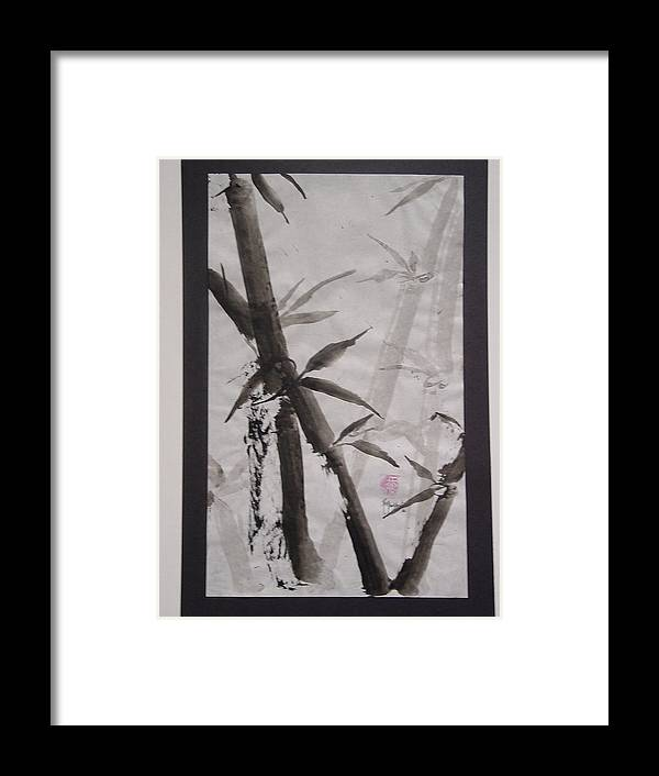 Bamboo Framed Print featuring the painting Bamboo by Robin Miller-Bookhout