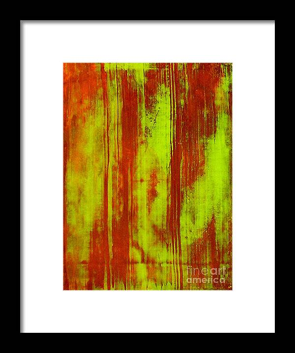Abstract Art Framed Print featuring the painting Bamboo Spy 1 by Teo Santa