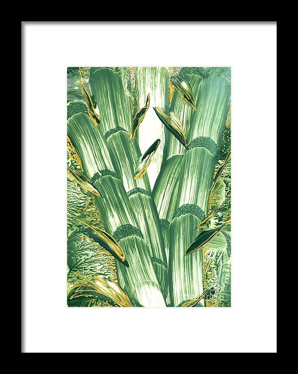 Abstract Encaustic Framed Print featuring the painting Bamboo Treasure by Heather Hennick