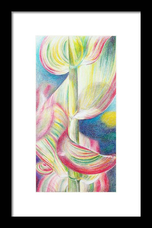 Flower Framed Print featuring the painting Bambou by Muriel Dolemieux