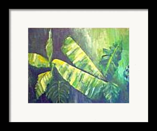 Banana Leaf Framed Print featuring the painting Banan Leaf by Carol P Kingsley