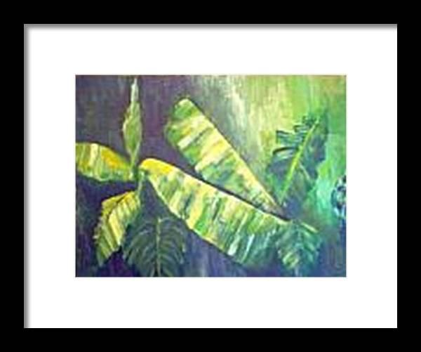 Banana Leaf Framed Print featuring the painting Banan Leaf by Carol P Kingsley