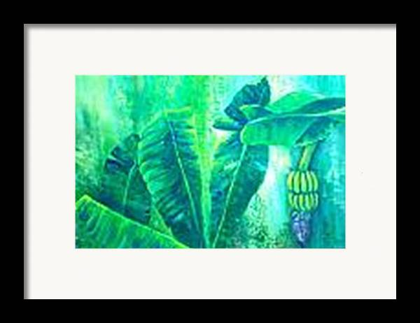 Framed Print featuring the painting Banan Leaves 5 by Carol P Kingsley