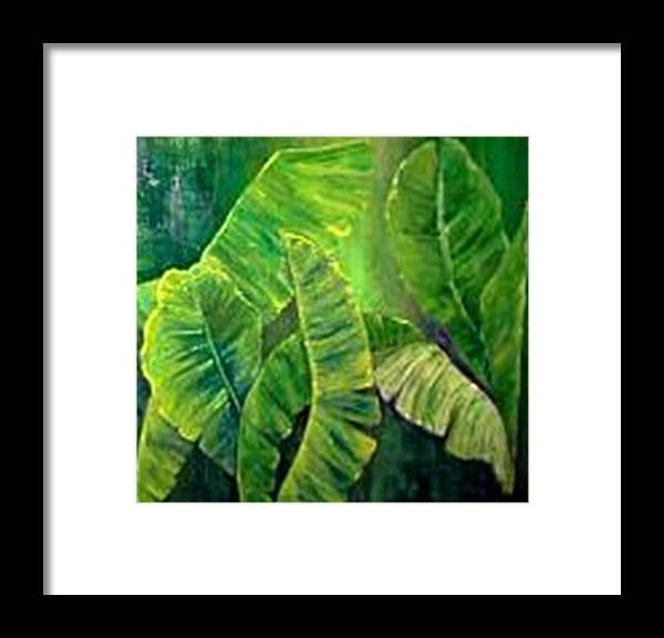 Framed Print featuring the painting Banana Leaves by Carol P Kingsley