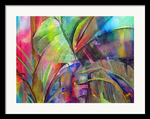 Tropical Tree/plant Framed Print featuring the painting Banana Leaves IIi by Maritza Bermudez