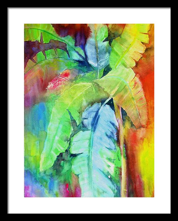 Tropical Tree Framed Print featuring the painting Banana Leaves by Maritza Bermudez
