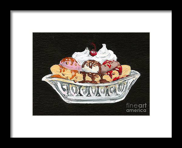 Ice Cream Framed Print featuring the painting Banana Split by Elaine Hodges