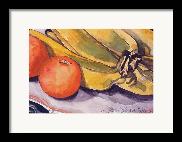 Still-life Framed Print featuring the painting Bananas And Blood Oranges Still-life by Caron Sloan Zuger