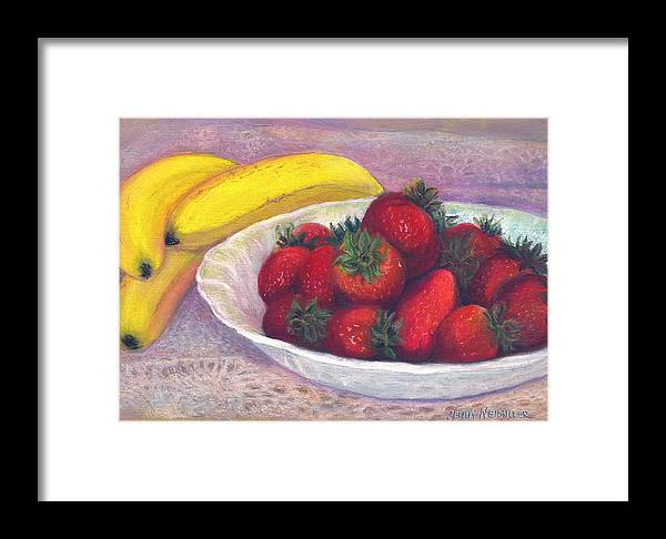 Paintings With Strawberries In Framed Print featuring the painting Bananas And Strawberries by Penny Neimiller