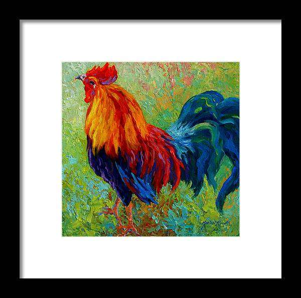 Rooster Framed Print featuring the painting Band Of Gold by Marion Rose