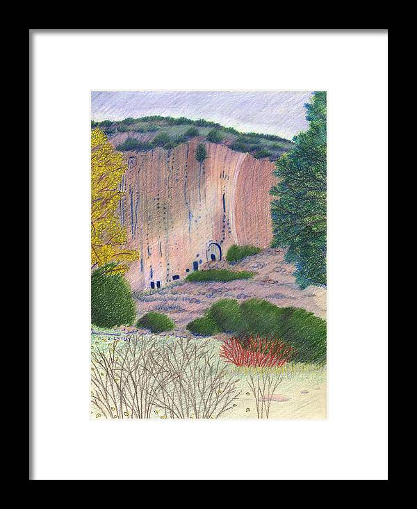 Bandelier National Monument Framed Print featuring the drawing Bandelier 2004 by Harriet Emerson