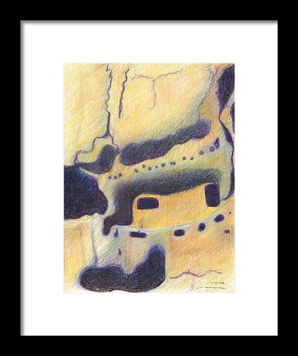 Bandelier National Monument Framed Print featuring the drawing Bandelier I by Harriet Emerson