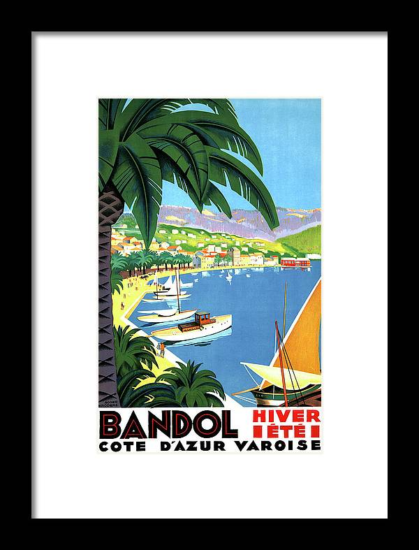 Bandol Framed Print featuring the painting Bandol, French Riviera, Boats On Port by Long Shot