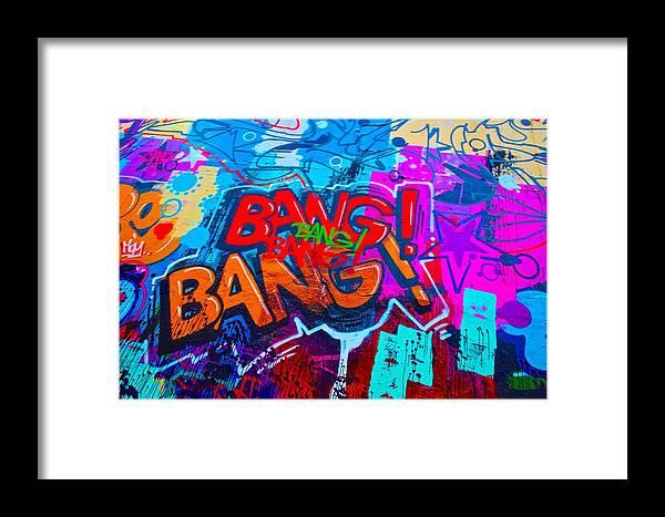 Bang Graffiti Framed Print featuring the painting Bang Graffiti Nyc 2014 by Joan Reese