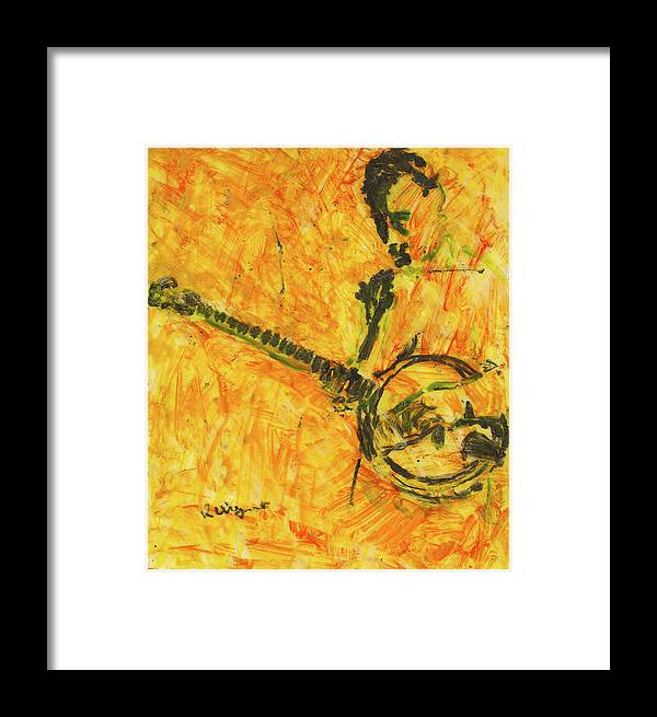 Lacquer Framed Print featuring the painting Banjo Player by Richard Wynne