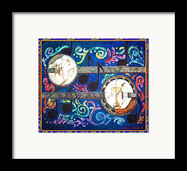 Banjo Framed Print featuring the painting Banjos - Bordered by Sue Duda