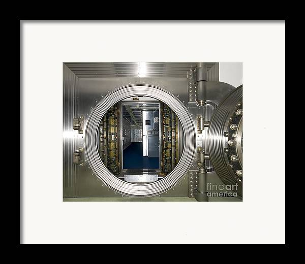 Architectural Framed Print featuring the photograph Bank Vault Interior by Adam Crowley