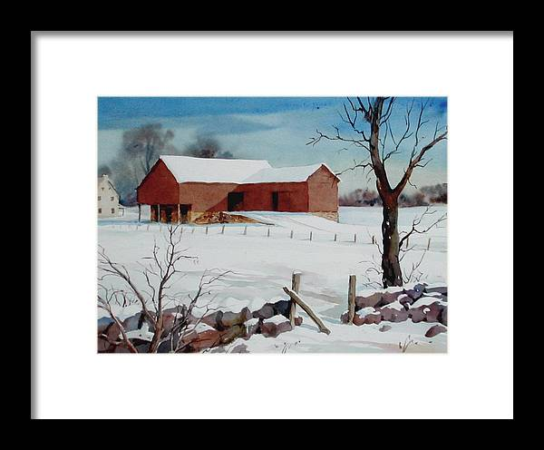 Landscape Framed Print featuring the painting Bankbarn In The Snow by Faye Ziegler