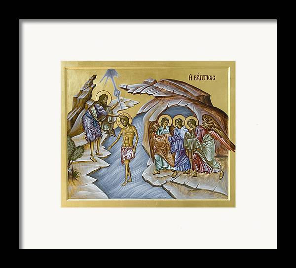 Icon Framed Print featuring the painting Baptism by Julia Bridget Hayes