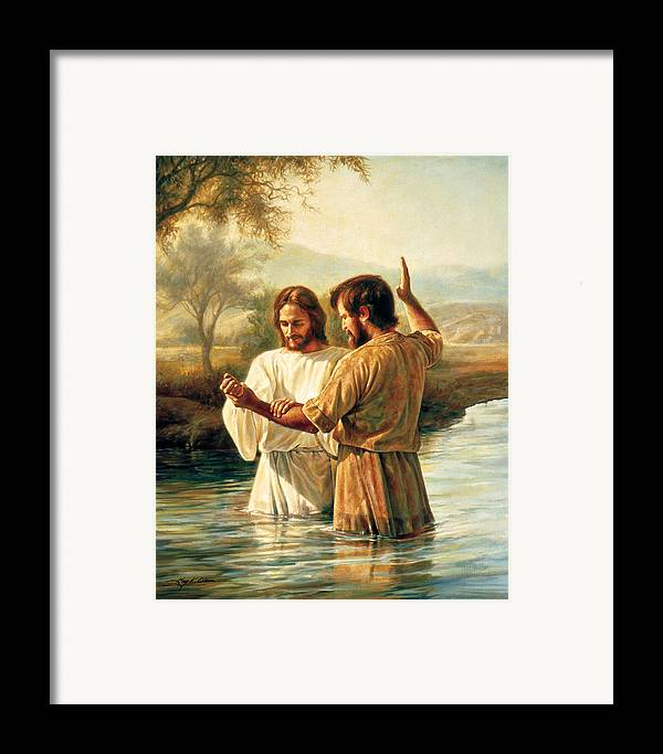 Jesus Framed Print featuring the painting Baptism Of Christ by Greg Olsen