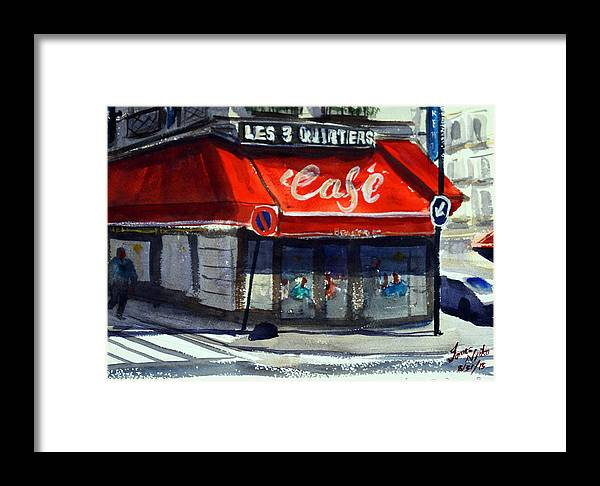 Cafe Framed Print featuring the painting Bar Les 3 Quartiers by James Nyika