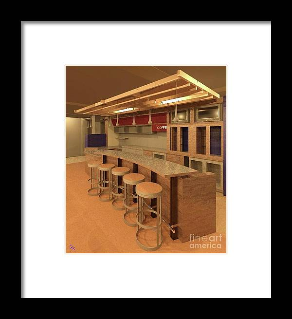 Rendering Framed Print featuring the digital art Bar by Ron Bissett