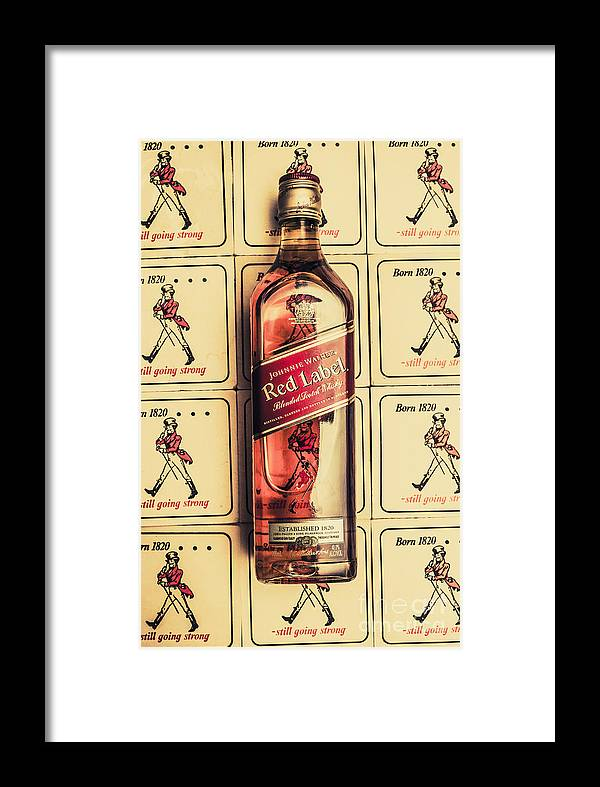 Johnnie Framed Print featuring the photograph Bar Wall Art. Old Johnnie Walker Red Label by Jorgo Photography - Wall Art Gallery