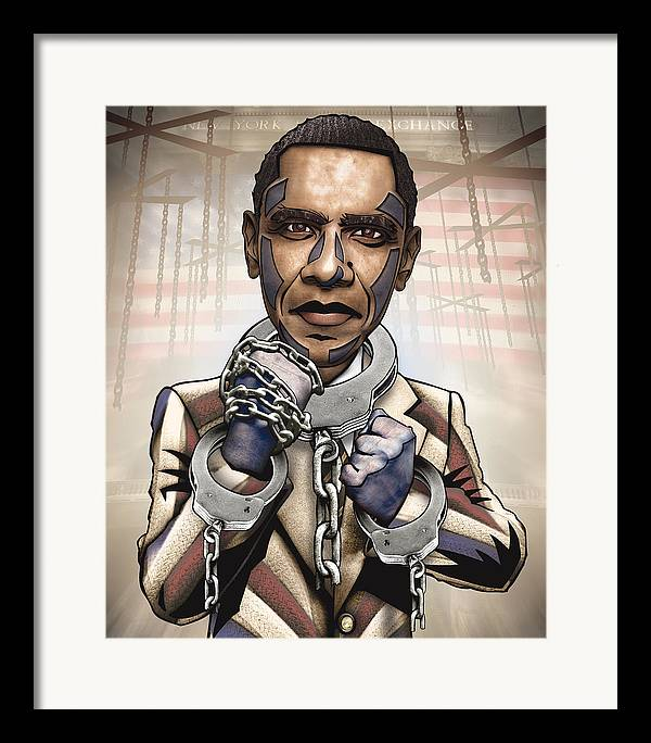Obama Framed Print featuring the drawing Barack Obama - Stimulate This by Sam Kirk